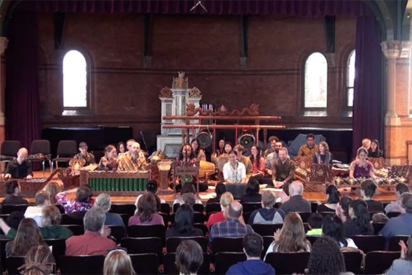 Cornell Gamelan Ensemble performs onstage in Barnes Hall