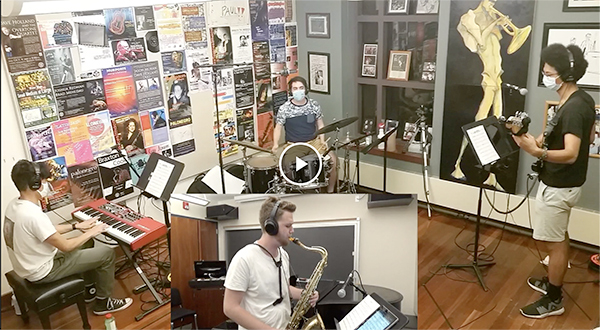 A saxophone, piano, bass, and drums perform via Zoom