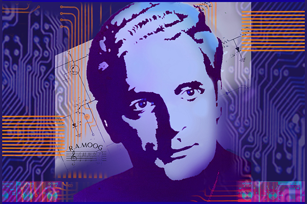 Robert Moog stylized poster art