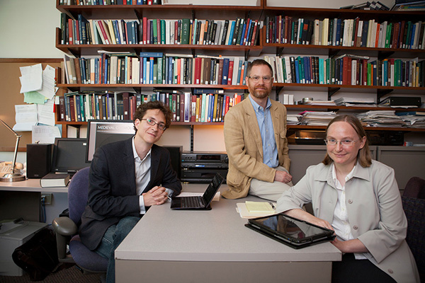 Associate Professor Andrew Hicks with collaborators Benjamin Anderson (History of Art) and Courtney Roby (Classics)