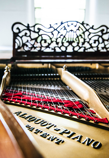 Bluthner piano interior strings