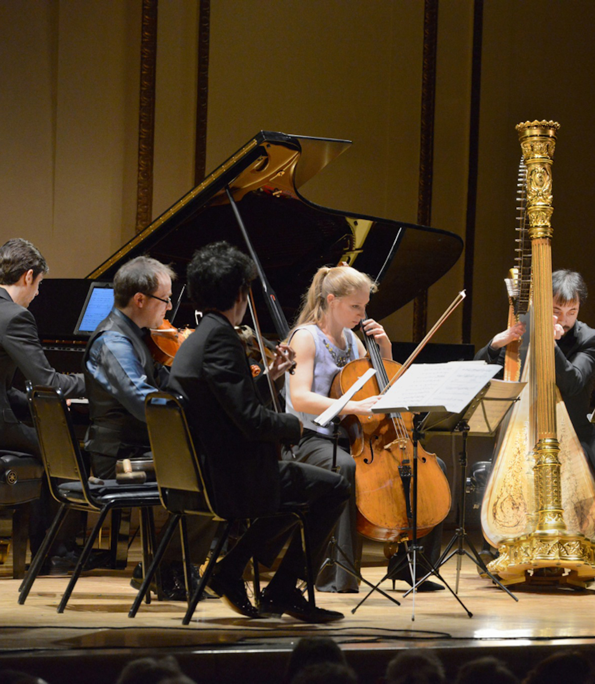 Israeli Chamber Project, musicians playing piano, violin, and harp